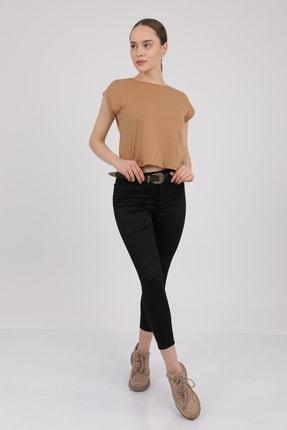 MD trend Kadın Sütlü Kahve Bisiklet Yaka Kısa Kol T-Shirt Mdt3286 3