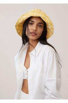 Mango Kadın Sarı Dokuma Bucket Şapka 87096317 1