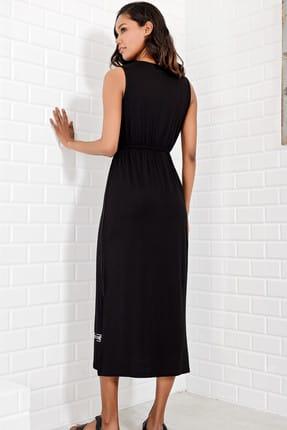 Trend Alaçatı Stili Kadın Siyah Nakış Baskılı Bohem Elbise ALC-6564 2