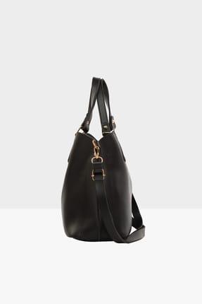 Bagmori Siyah Kadın Üç Bölmeli Çıtçıt Detaylı Çanta M000002918 2