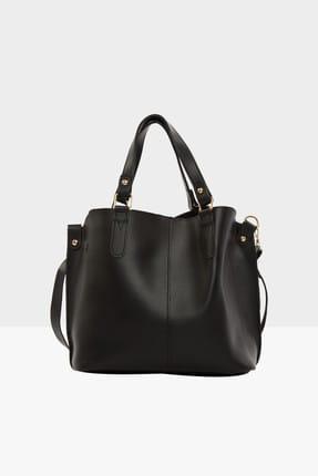 Bagmori Siyah Kadın Üç Bölmeli Çıtçıt Detaylı Çanta M000002918 0