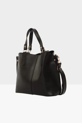 Bagmori Siyah Kadın Üç Bölmeli Çıtçıt Detaylı Çanta M000002918 1