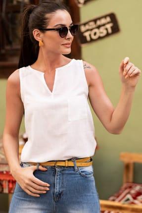 armonika Kadın Beyaz Yakası Açık Cepli Kolsuz Bluz ARM-18Y003014 1