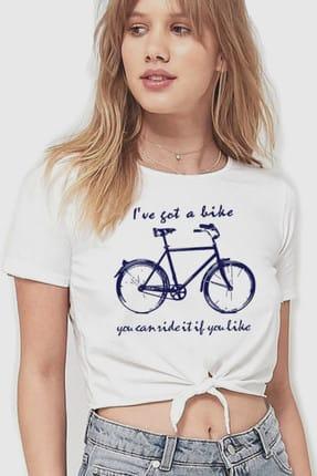 تصویر از Benim Bisikletim Beyaz Kesik Crop Top Bağlı Kadın T-shirt 1M1TW019AB