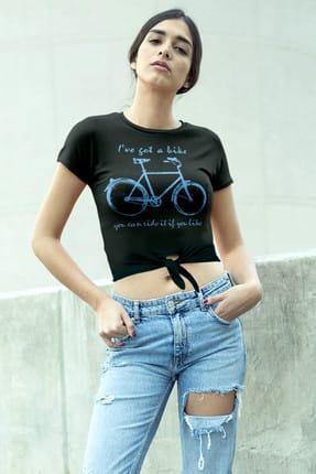 تصویر از Benim Bisikletim Siyah Kesik Crop Top Bağlı Kadın T-shirt 1M1TW019AS