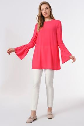 Mizalle Kadın Fuşya Basic Kolları Volanlı Bluz 19YGMZL1012015 3
