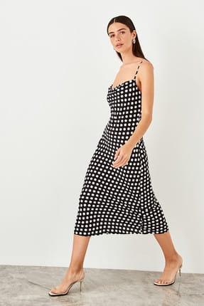 TRENDYOLMİLLA Siyah Askılı Puantiyeli Elbise TWOSS19EL0172 2