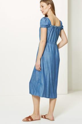 Marks & Spencer Kadın Mavi Yakası Düğmeli Midi Elbise T42005609 4