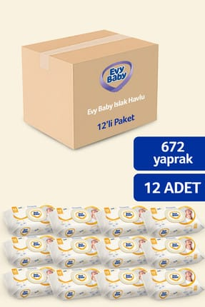 Evy Baby Islak Havlu Soft 12'Li Islak Mendil 672 Yaprak 2