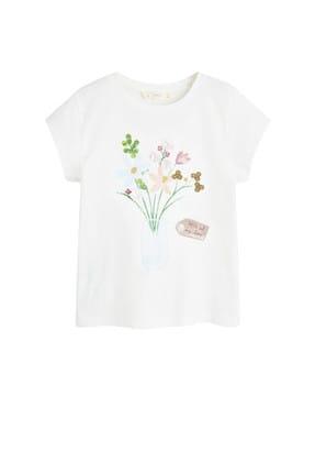 Mango Kırık Beyaz Kız Çocuk Desenli Pamuklu Tişört 53031091 3