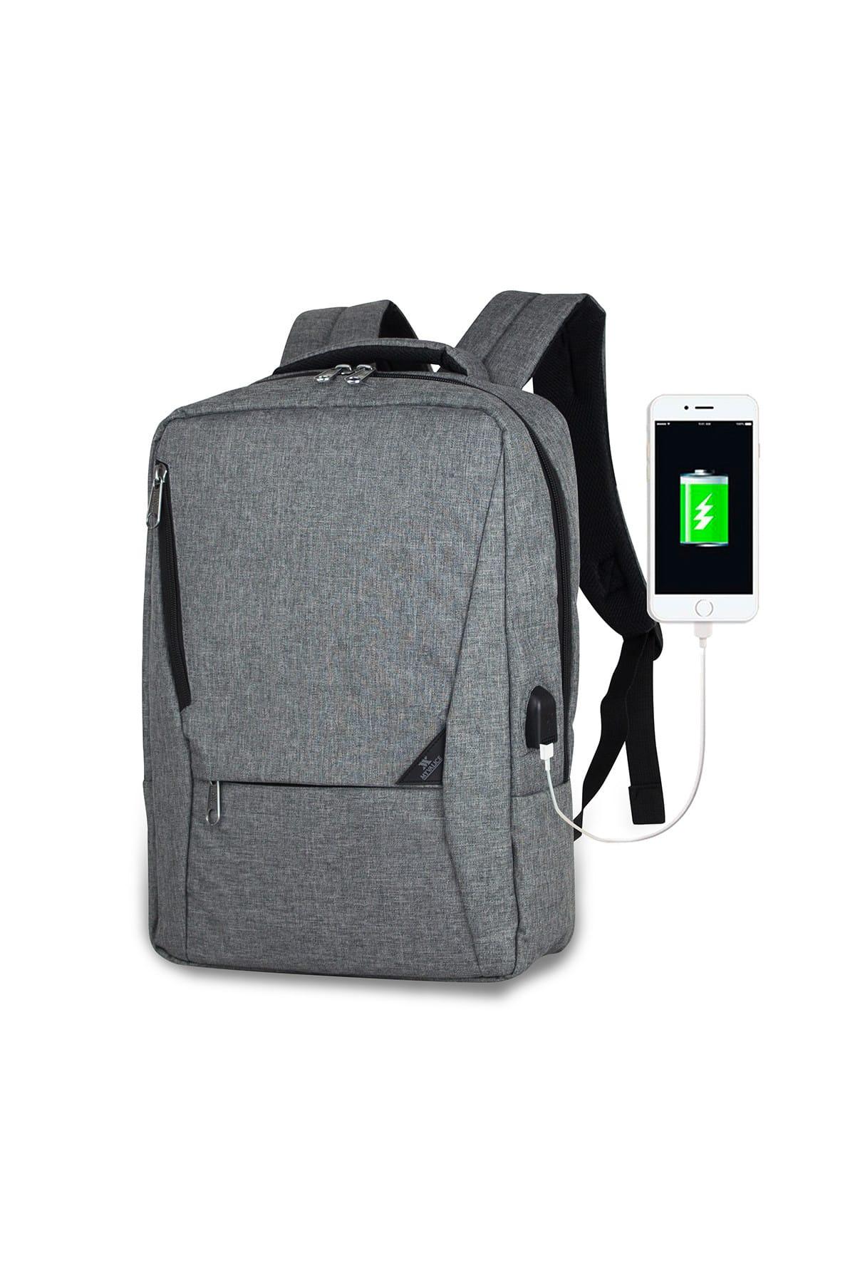 Smart Bag Active Usb Şarj Girişli Slim Notebook Sırt Çantası Gri