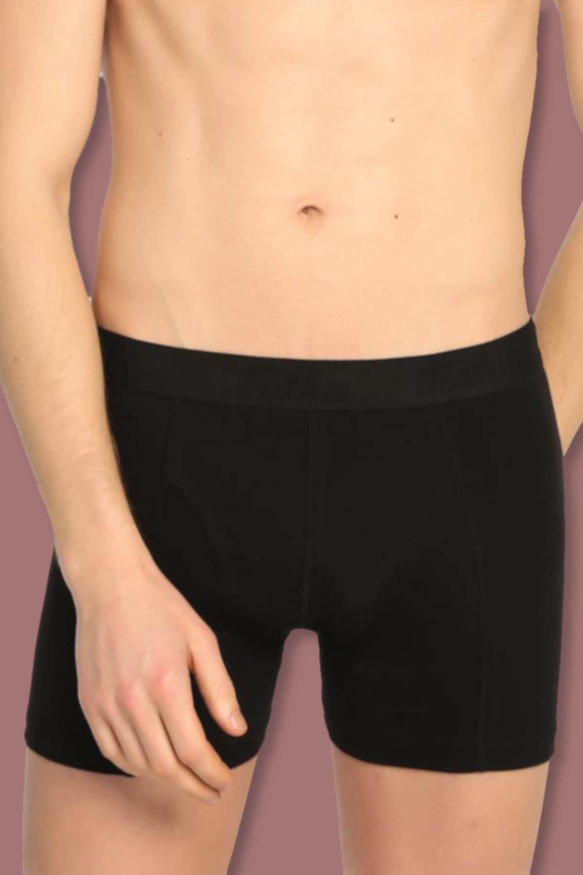 2 org zoom Erkek Siyah 6'Lı Paket Elastan Streç Boxer
