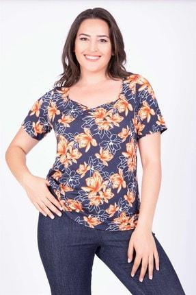 Picture of Kadın Lacivert Çerçeve Yaka T-Shirt 34883