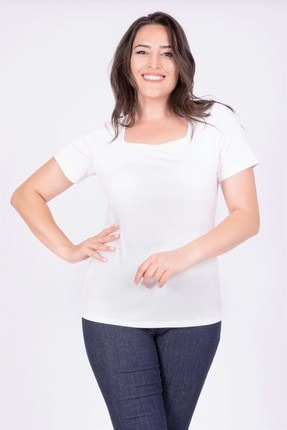 Picture of Kadın Beyaz Kare Yaka T-Shirt 34885
