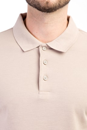 Kiğılı Erkek Bej Polo Yaka Düz Slimfit T-Shirt - 9093 2