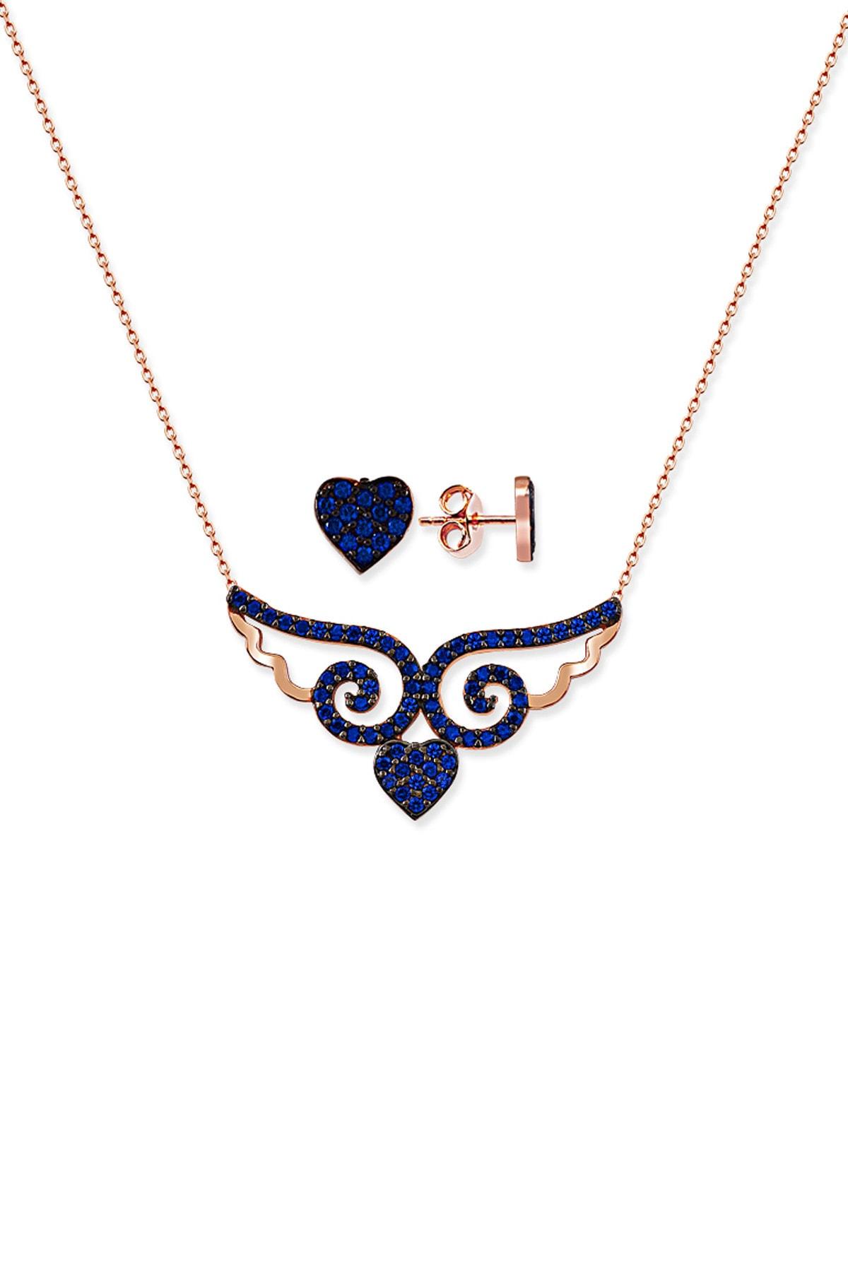 Gümüş Çarşısı Kadın Kalpli Melek Kanadı Kolye Küpe GCA324 0
