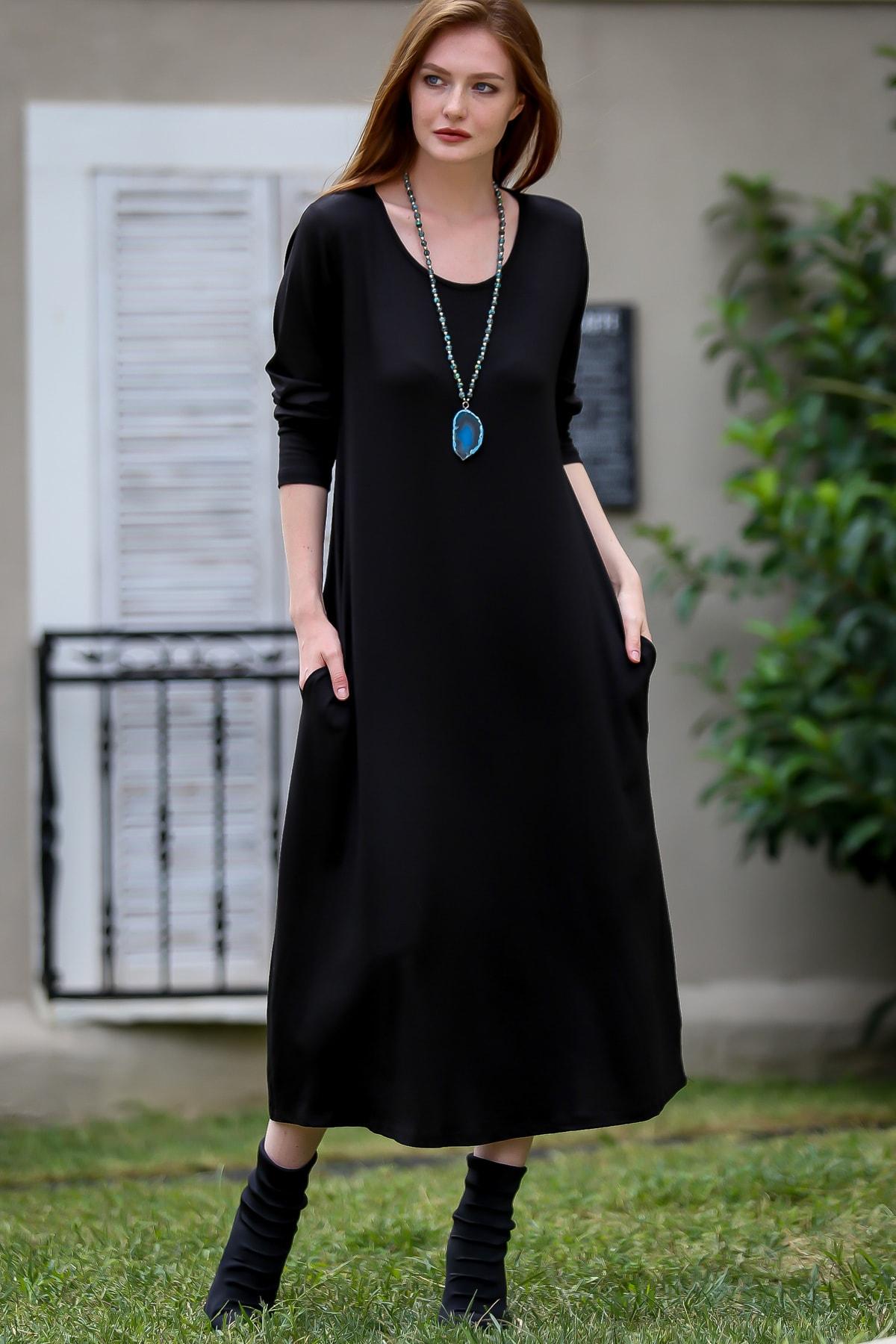 Chiccy Kadın Siyah Gizli Cepli Oversize Salaş Elbise C10160000EL97767 0