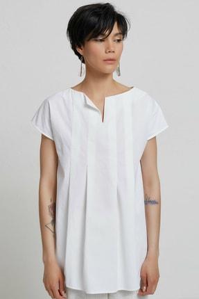 Yargıcı Kadın Kırık Beyaz Tunik Gömlek 9KKGM6142X 0