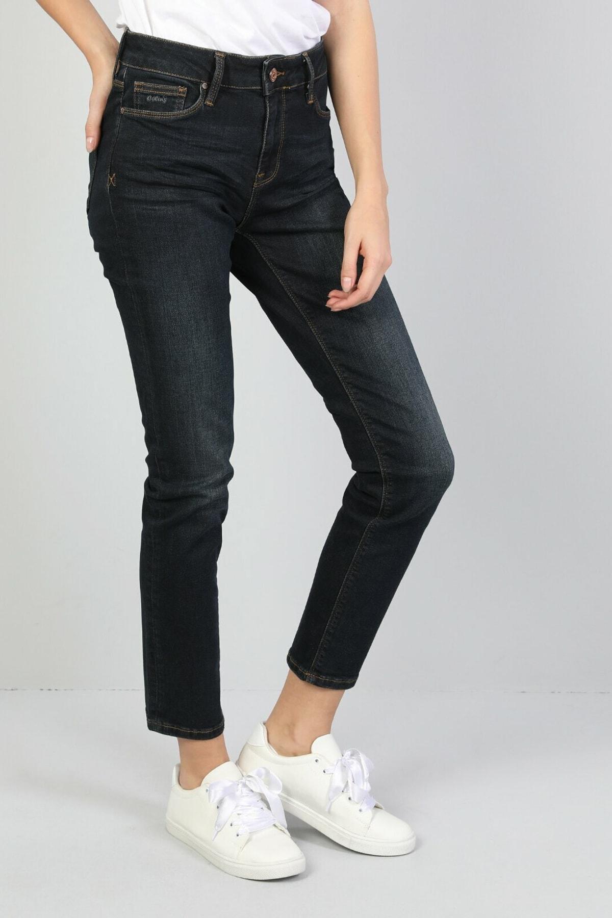 KADIN 703 Carla Orta Bel Düz Paça Slim Fit Koyu Mavi Kadın Jean Pantolon CL1046991