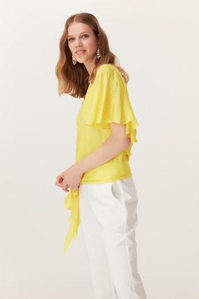 İpekyol Kadın Sarı  Kolları Volanlı Kuşaklı Bluz IS1190006401009 0