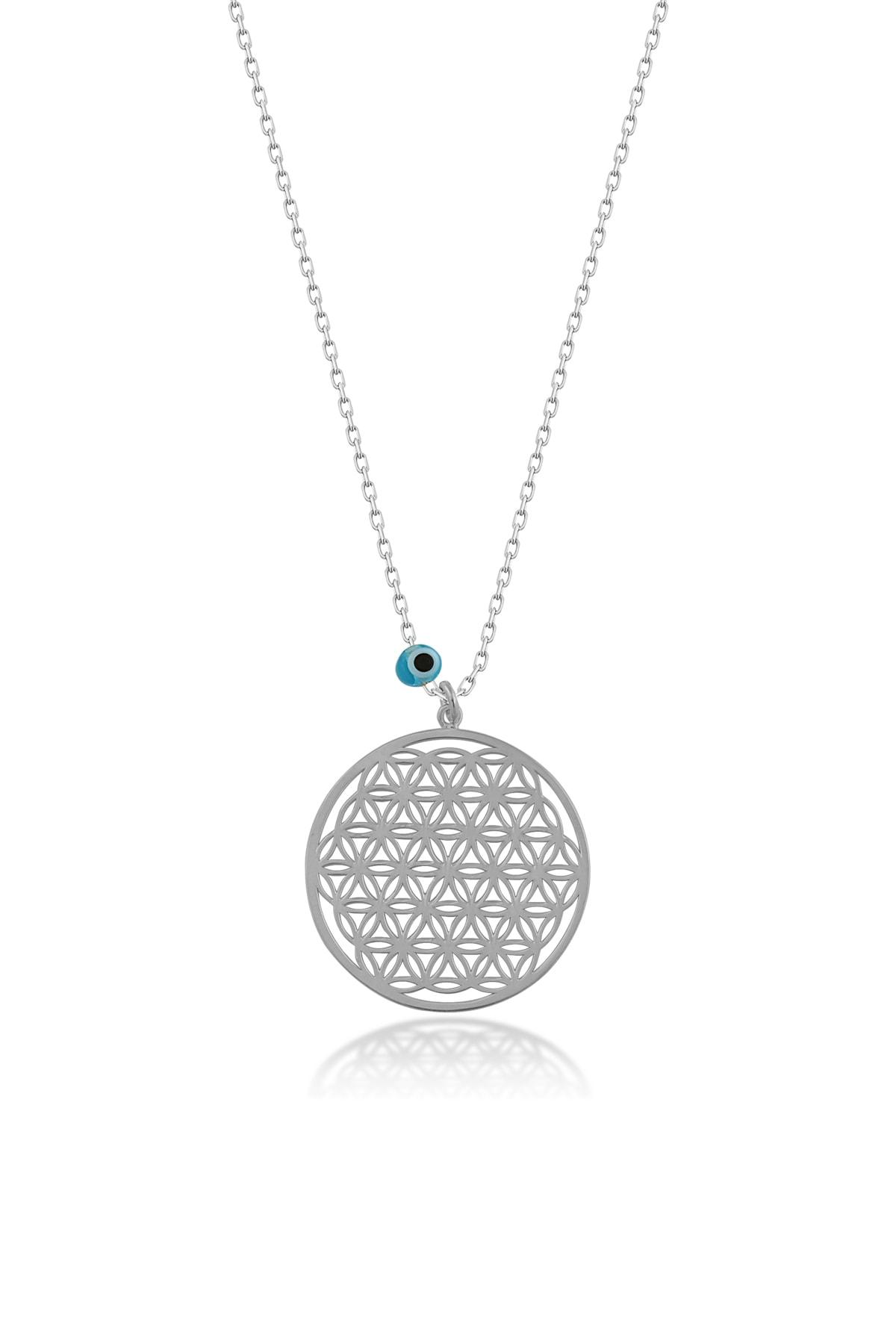 Kadın Nazarlı Yaşam Çiçeği Gümüş Kolye CG143