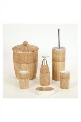 Pinkev 6 Parça Çöp Kovalı Seramik Banyo Seti 0
