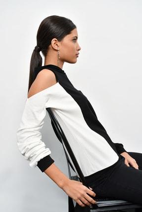 Cool & Sexy Kadın Siyah Renk Bloklu Omuzları Açık Sweatshirt B23 1