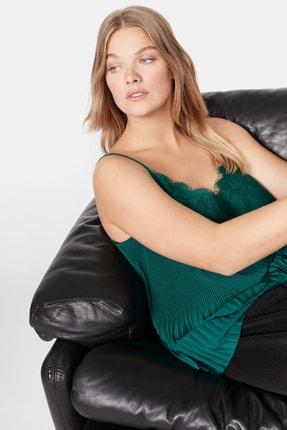 Mango Kadın Yeşil Pilili Askılı Dantel Üst 57029028 4