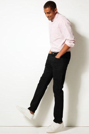 Marks & Spencer Erkek Siyah Straight Fit Streç Jean Pantolon T17001616M 0