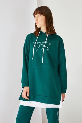Zümrüt Yeşili Kapüşonlu Örme Tesettür Sweatshirt TCTSS21SW0400