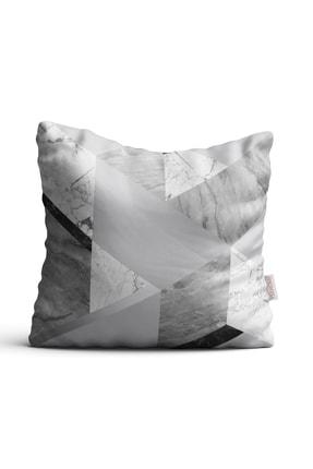 Ysahome Siyah Mermer Desenli Dijital Baskı Dekoratif Kırlent Yastık Kılıfı 0