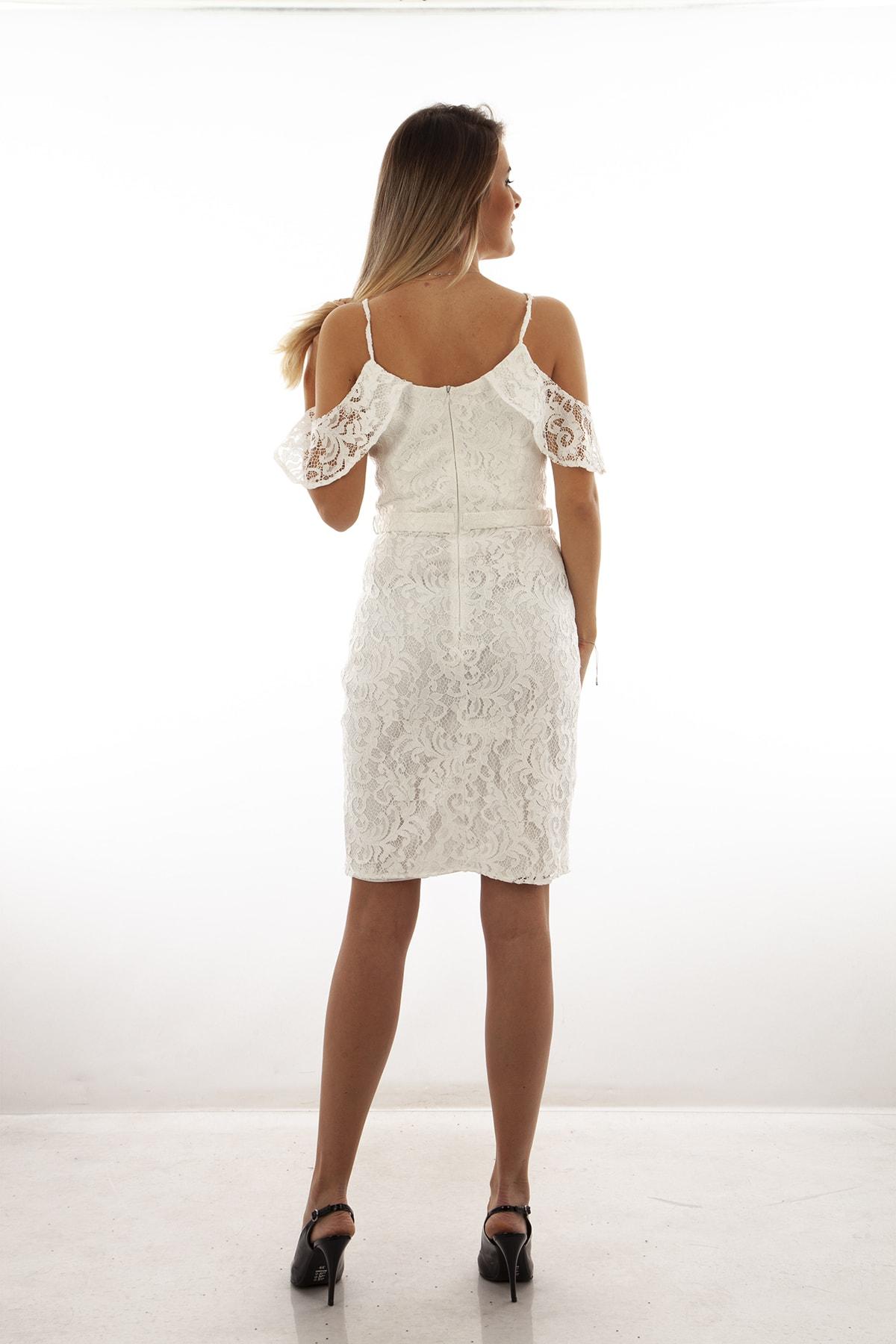 Ardanewline Kadın Ekru Elbise 130122-10 2