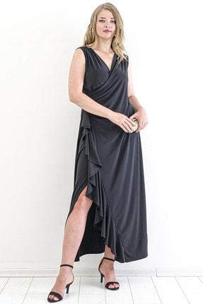 Angelino Kadın Sandy Yan Yırtmaç Abiye Elbise PNR88 Siyah T109998 2