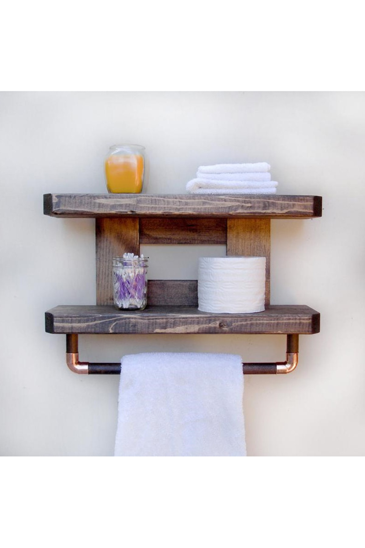 WOODENSA Ahşap Banyo Rafı  Rustic Banyo Düzenleyici 0