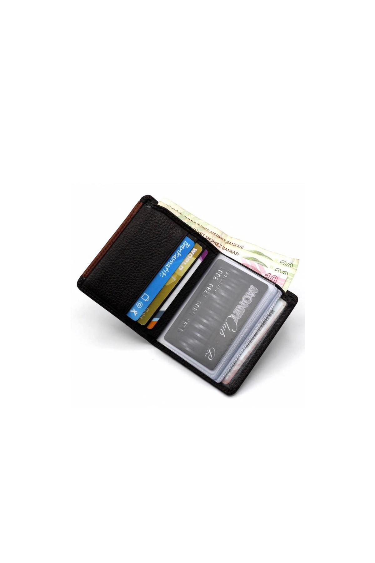 WEST POLO CÜZDAN Siyah Erkek Kağıt Para Bölmeli Şeffaf Kartlık Kartlık WP3002 1