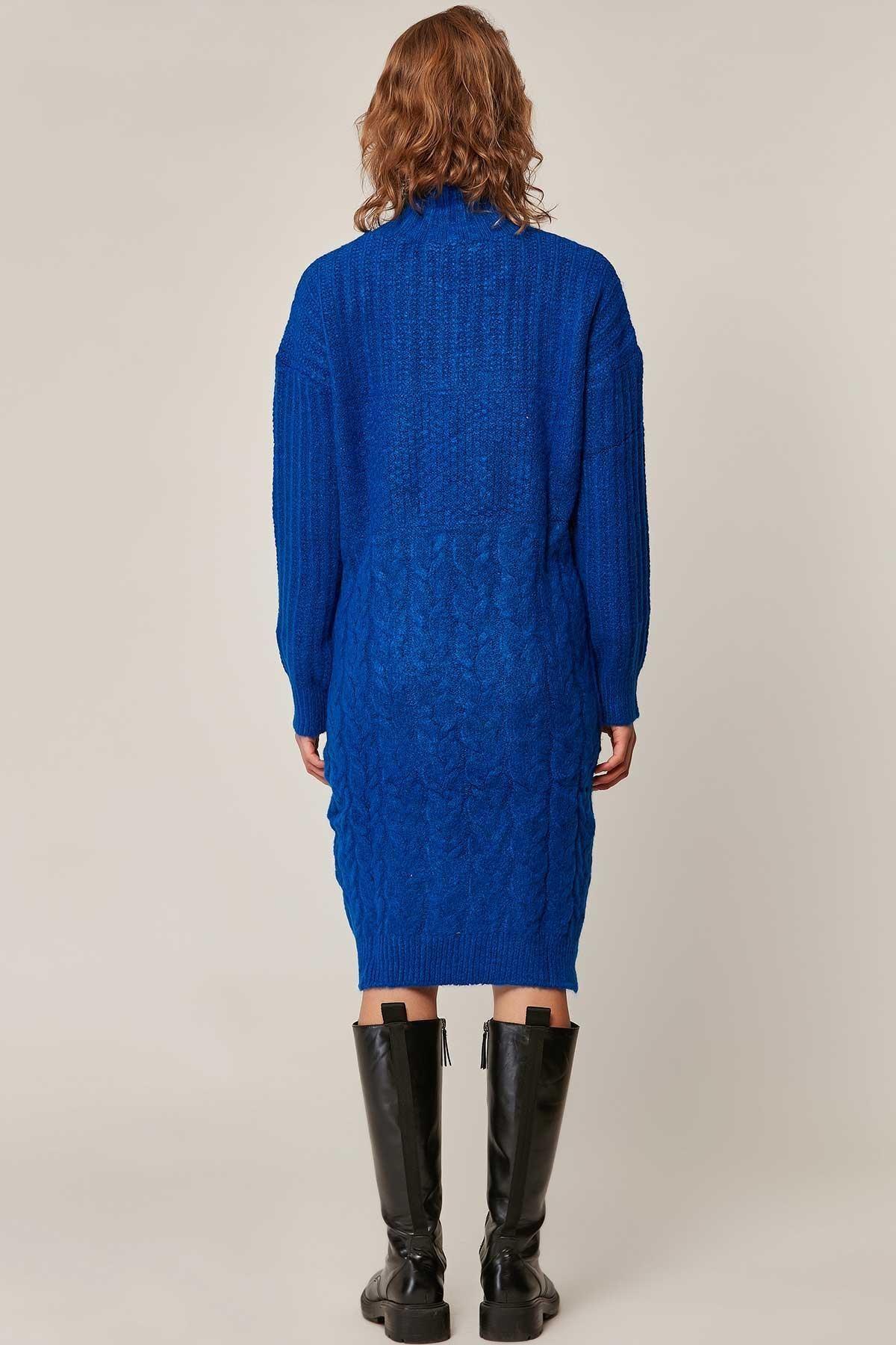 Pattaya Kadın Yırtmaçlı Boğazlı Salaş Triko Elbise 80195 2