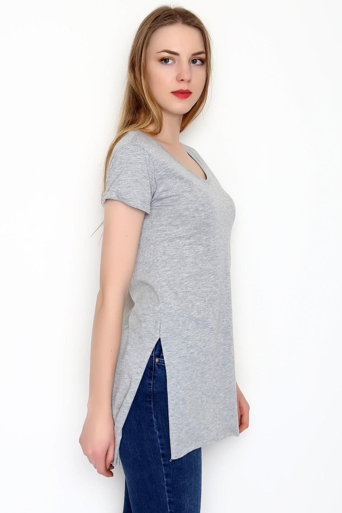 Lukas Kadın Gri Penye Tunik Tişört 2