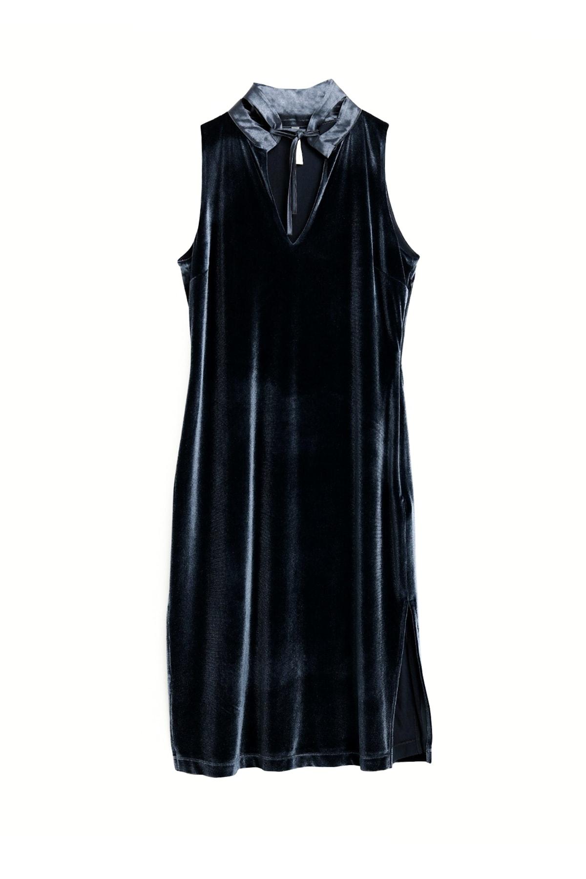 Kadın Gri Mavi Yaka Detaylı Elbise 9KKEL7140X
