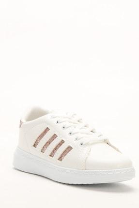 Ayakkabı Modası Beyaz-Bakır Kadın Sneaker M4000-19-101001R 1