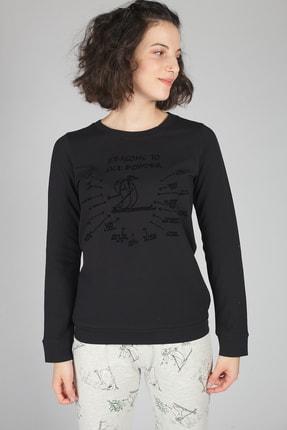 Kadın Siyah Pijama Üstü 30304-B132
