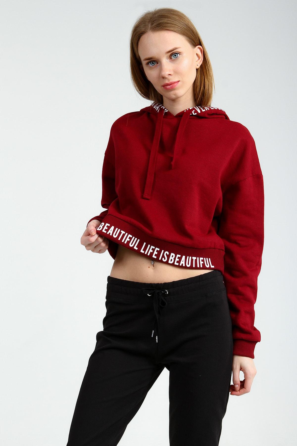 Collezione Kadın Bordo Regular Sweatshirt Ermen UCB150463A15 0