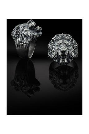 Bysilverstone Aslan Kafası Erkek 3 Boyutlu Gümüş Yüzük 1