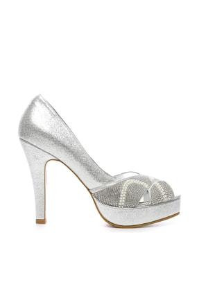 Kemal Tanca Gri Kadın Vegan Klasik Topuklu Ayakkabı 592 2310 BN AYK 0