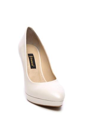Kemal Tanca Beyaz Kadın Vegan Klasik Topuklu Ayakkabı 22 2048 BN AYK 1