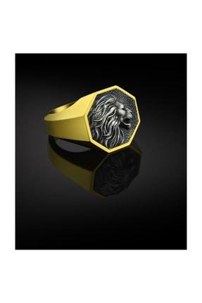 Bysilverstone Erkek Altın Kaplama Gümüş Aslan Yüzük 1