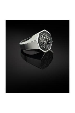 Bysilverstone Gümüş Aslan Geometrik Erkek Yüzük 1
