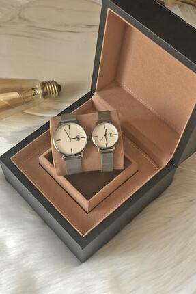 Ricardo Unisex Çift Gümüş Renk Hasır Çelik Kordon Takvimli Kol Saati 0
