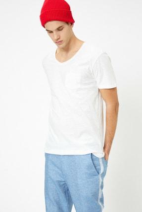 Koton Erkek Ekru V Yaka T-Shirt 0YAM12058LK 1