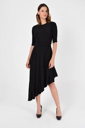 Laranor Kadın Siyah Asimetrik Kesim Elbise 19L6750 4
