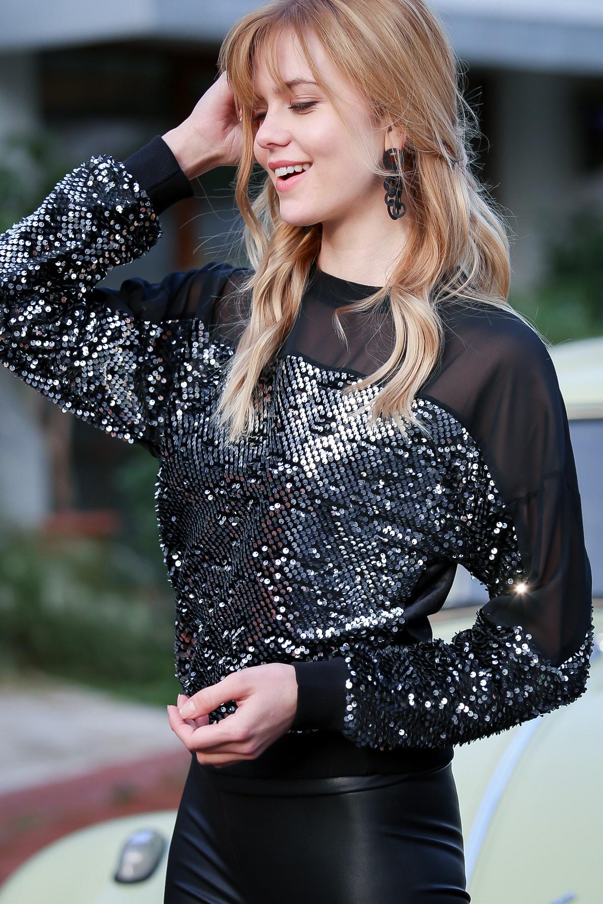 Chiccy Kadın Gümüş Omuzları Mesh Pul Payetli Bluz M10010200BL96832 0